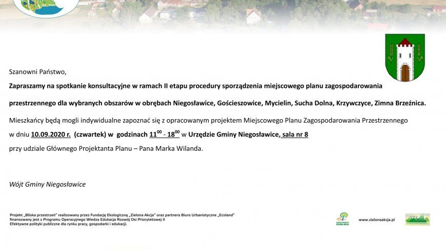 Zaproszenie - II etap procedury sporządzenia MPZP