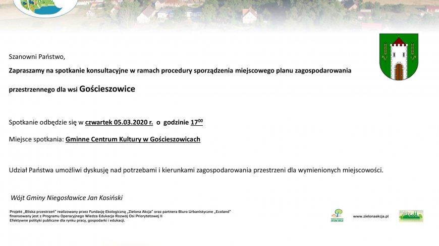 Zapraszamy na spotkanie konsultacyjne w ramach procedury sporządzenia miejscowego planu zagospodarowania  przestrzennego dla wsi Gościeszowice