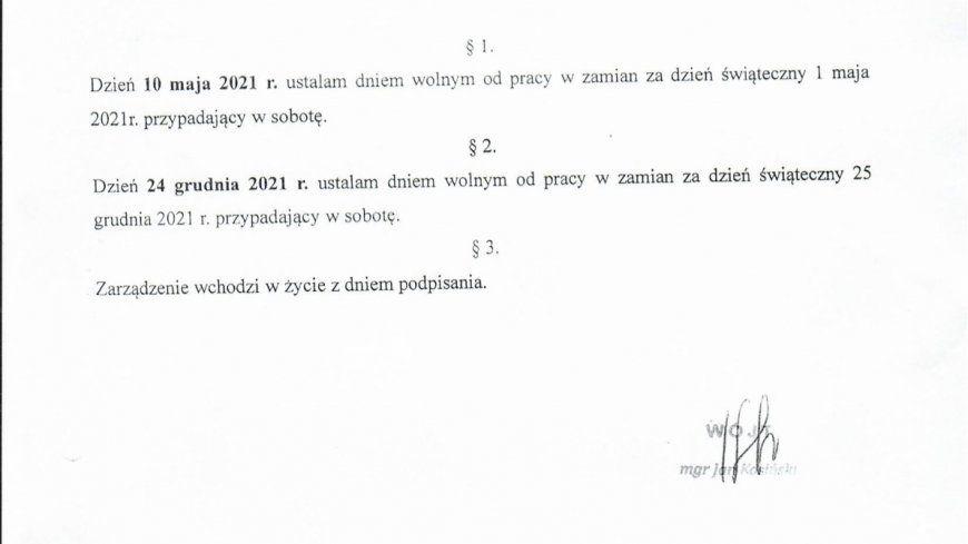 Zarządzenie Nr 120.9.2021 Wójta Gminy Niegosławice z dnia 19 lutego 2021r.
